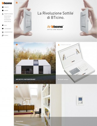 Screenshot sito BTicino architetti