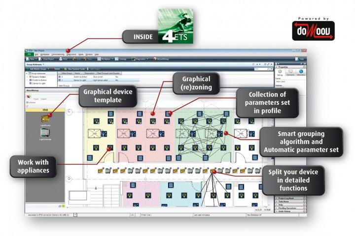 Il software MooV'n'Group offre una nuova interfaccia utente che mostra il layout del building e l'ubicazione delle appliances